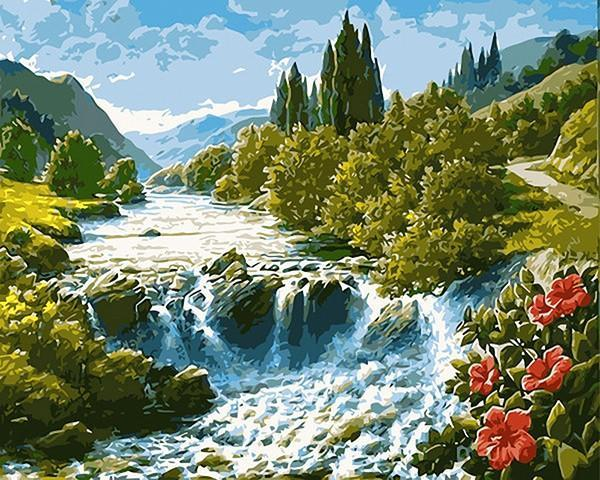A Raging River Flowing Through the Green Lands - DIY Paint it - All Paint by numbers