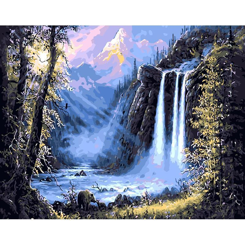 Mountain Waterfall Landscape DIY Painting By Numbers Kit - All Paint by numbers