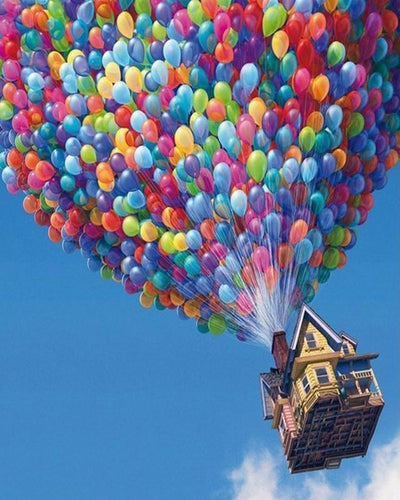Air Balloons Flying House - All Paint by numbers