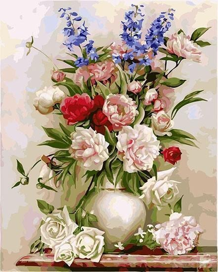 Colorful Flowers Vase Painting by Numbers Kit - All Paint by numbers