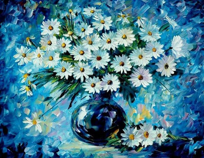 Beautiful Artistic white Flowers DIY Painting - All Paint by numbers