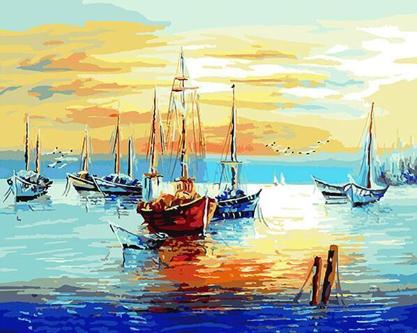 Boats in the sea and The Sunset - Paint by Numbers for Adults - All Paint by numbers