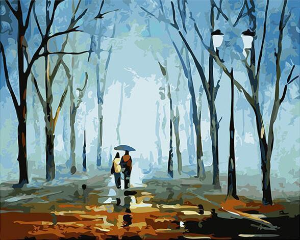 A Long Walk in the Rainy Weather in Autumn - Romantic Gift - All Paint by numbers