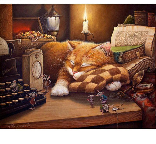 Cat Sleeping Painting with Paint by Numbers Kit - All Paint by numbers