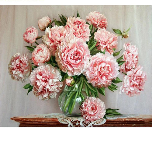 Beautiful Pink Flowers in Glass Vase - Painting by Numbers - All Paint by numbers