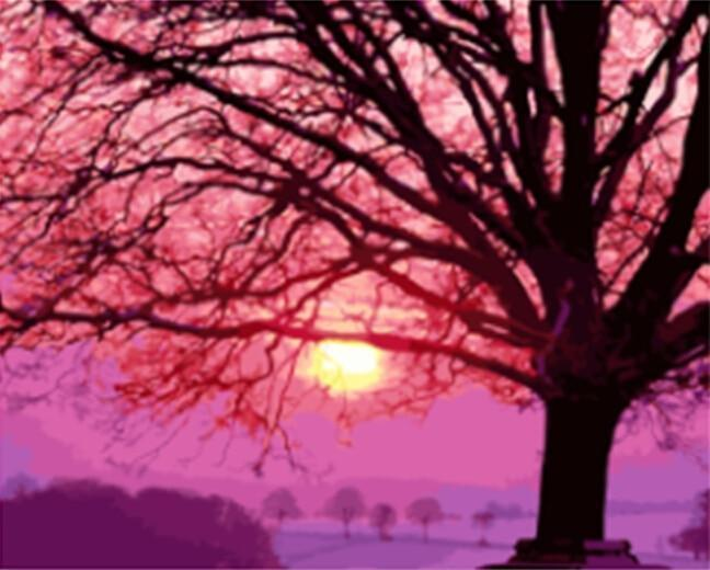 Pink Tree and Purple Sky - All Paint by numbers