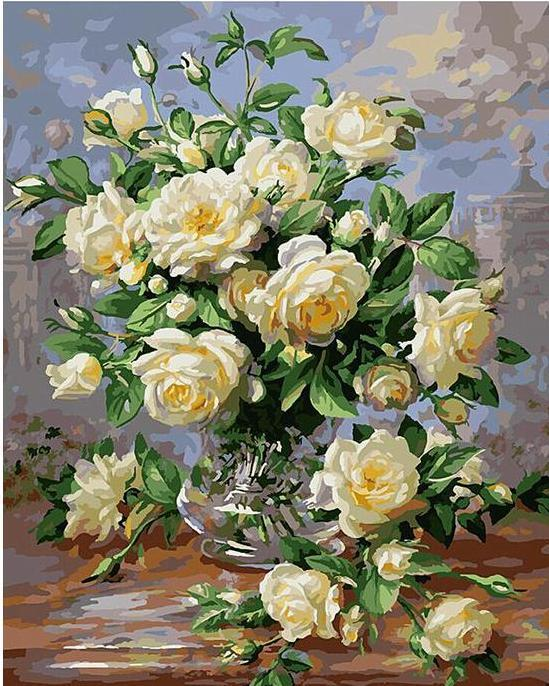 Artistic White Flowers Painting - All Paint by numbers