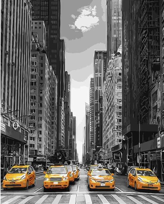 Taxis - New York Paint by Number Painting - All Paint by numbers