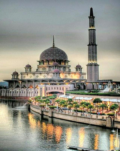 Beautiful Mosque at the River Bank - All Paint by numbers