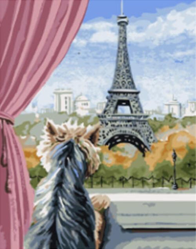 Dog Starring Eiffel Tower from the Window - All Paint by numbers