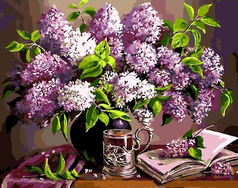 purple flowers paint by numbers
