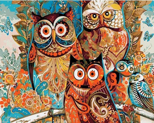 owls painting by numbers