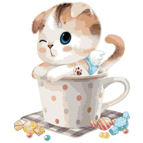 Cute Cat in the Cup - All Paint by numbers