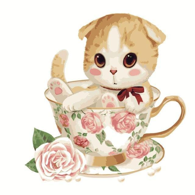 Cute Kitten in the Floral Cup Painting - Paint by Numbers Cartoons - All Paint by numbers