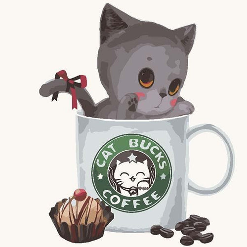 Little CUTE Cat in the CAT Bucks Cup - Paint it yourself or GIFT it - All Paint by numbers