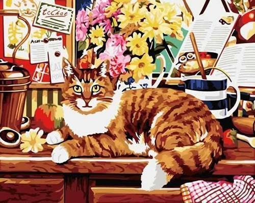 Big Cat Sitting on Table with Flowers and Other Stuff - All Paint by numbers