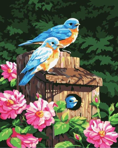 Blue and Yellow Birds family with Pink Flowers - Awesome Colors - All Paint by numbers