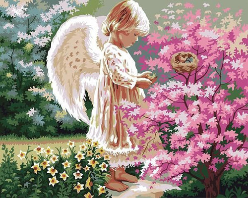 Little Angel Girl in the Garden DIY Painting - All Paint by numbers