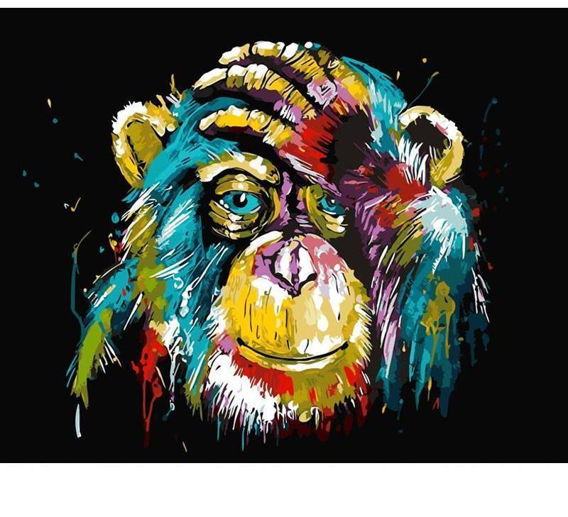 Colorful Chimpanzee Painting - Painting by Numbers for Kids - All Paint by numbers