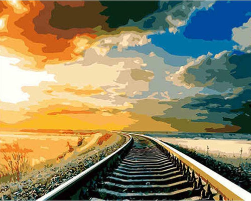 Train Track and Sun Set - All Paint by numbers