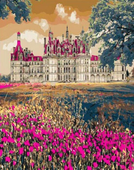 Pink Flowers and Pink Castle - All Paint by numbers