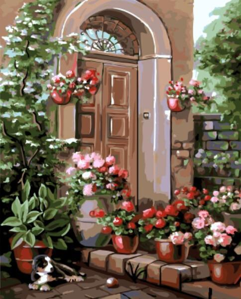 flowers on the door step