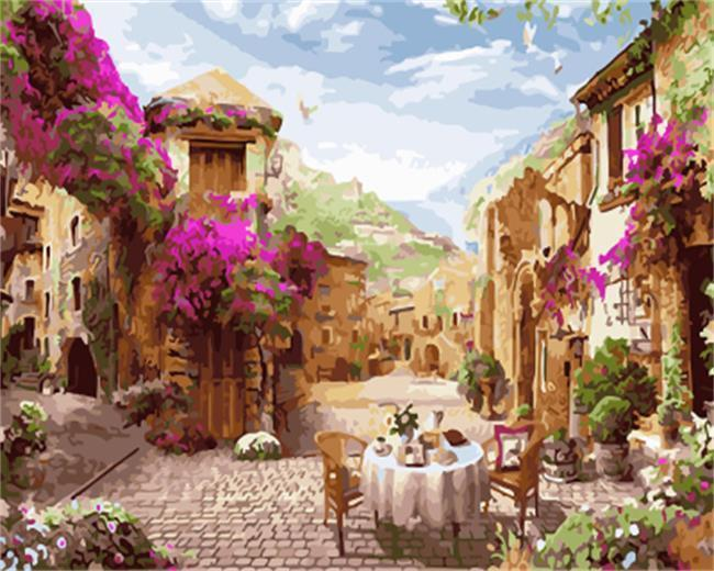 A Street with Pink & White Flowers - All Paint by numbers