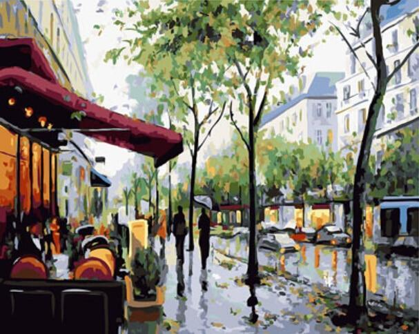 A Painting of Rainy Street - All Paint by numbers