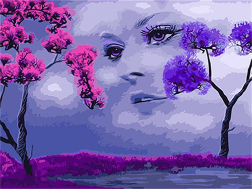 Pink & Purple Tree with a Fantasy Girl - All Paint by numbers