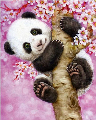 Cute Baby Panda Hanging on the Tree - Paint  by Numbers - All Paint by numbers
