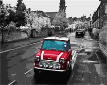 Load image into Gallery viewer, Black & White Street with Bright Red Car - All Paint by numbers