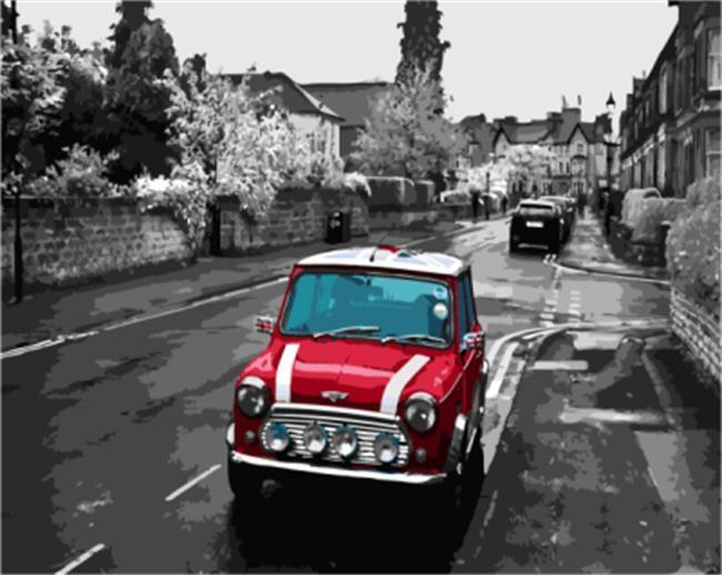 Black & White Street with Bright Red Car - All Paint by numbers