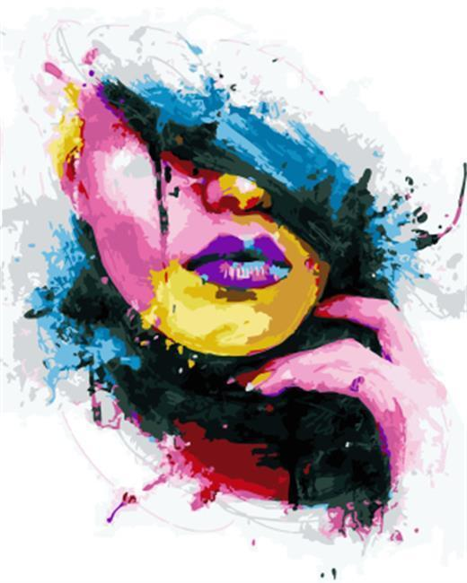 A color Splashing Lady - All Paint by numbers