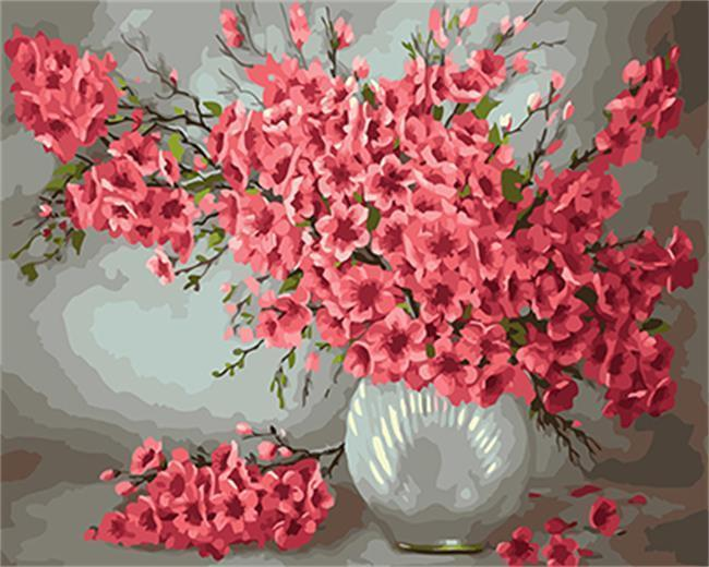 Pink Flowers in A Glass Vase - All Paint by numbers