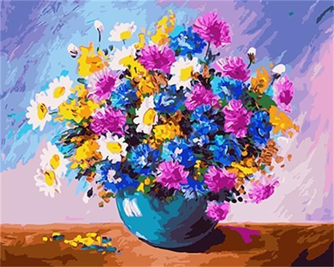 Colorful Flowers in a Blue Vase - All Paint by numbers