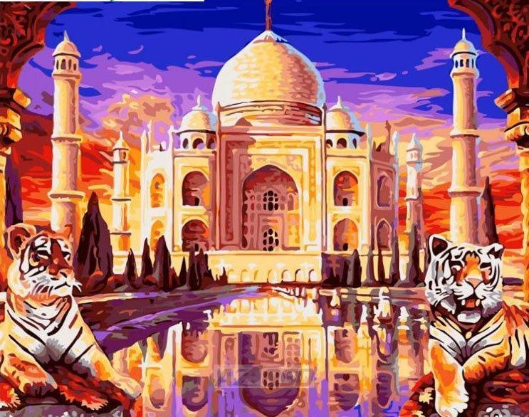 Taj Mahal Paint By Numbers Kit - All Paint by numbers