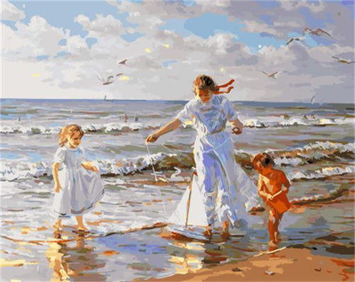 A Mother Playing with Children by the Beach - All Paint by numbers