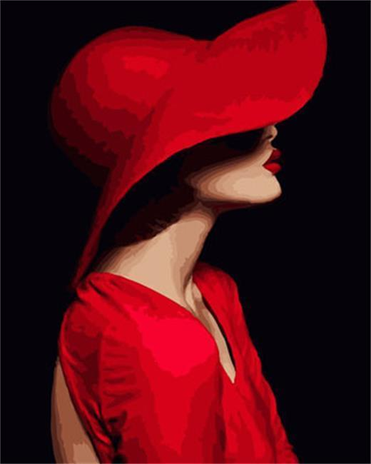 A Lady in Red Hat - All Paint by numbers