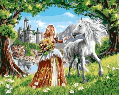 A Princess with her Horse - All Paint by numbers