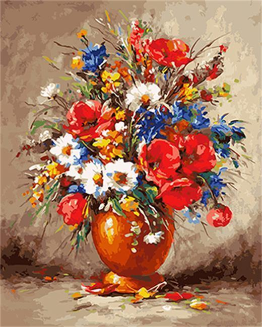 A Vase full of Colorful Flowers - All Paint by numbers