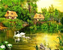 Load image into Gallery viewer, A Swan Family & Green Forest - All Paint by numbers