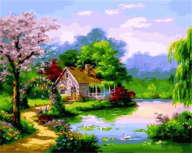 A Cherry Tree & House by the Lake - All Paint by numbers