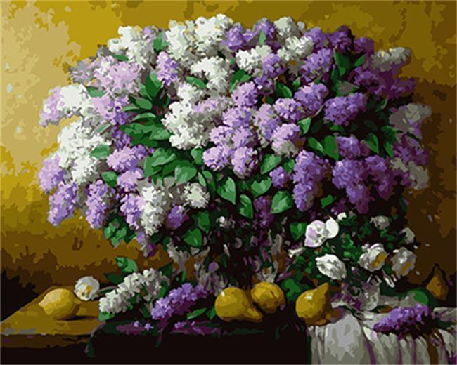 White & Purple Flowers on Table with Lemons - All Paint by numbers