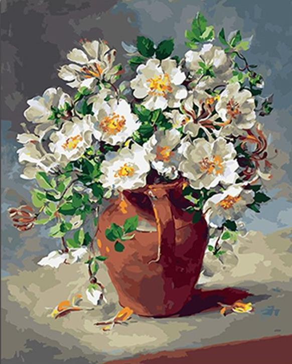 A Flower Pot full of White Daises - All Paint by numbers