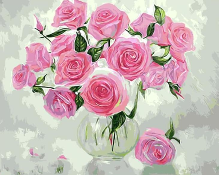 Pink Roses & Green Leaves in A Glass Vase - All Paint by numbers