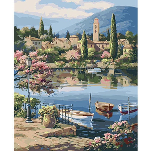Town by the Lake & Boats - All Paint by numbers