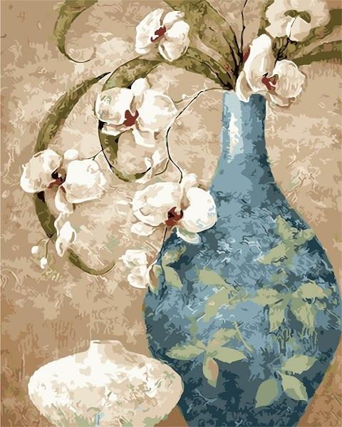 Blue Vase & White Lilly Paint By Numbers Kit - All Paint by numbers
