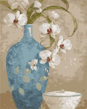 Load image into Gallery viewer, Blue Vase & White Lilly Paint By Numbers Kit - All Paint by numbers