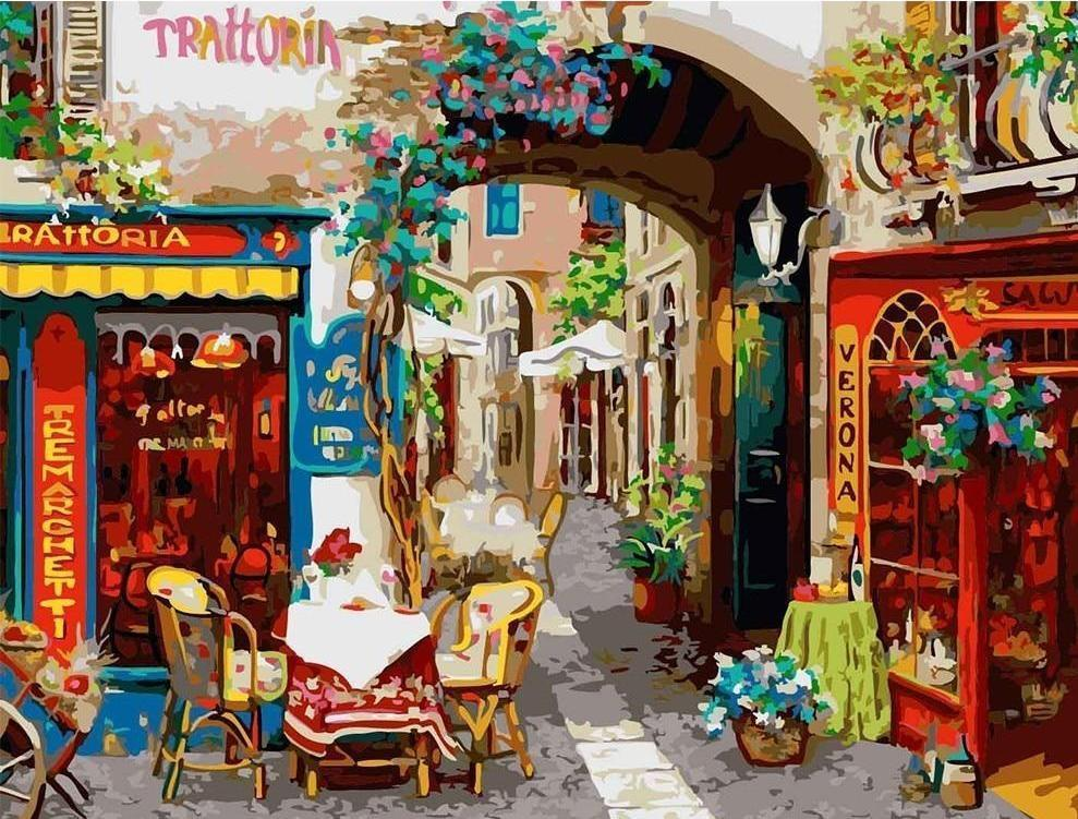 A Colorful Street View Paint By Numbers Kit - All Paint by numbers