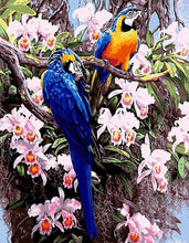 Load image into Gallery viewer, Blue Parrots & Pink Flowers - All Paint by numbers